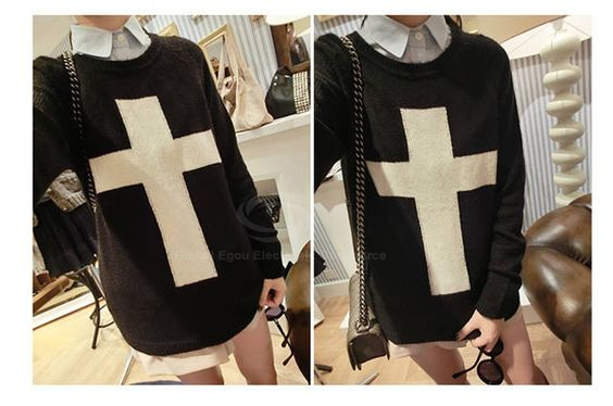 Cheap Wholesale Casual Scoop Neck Cross Print Long Sleeves All-Match Acrylic Fibers Women's Sweater (BLACK,ONE SIZE) At Price 12.65 - Dresslily.com