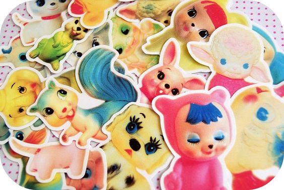 Vintage kitsch squeaky toys sticker pack. $7.50, via Etsy.