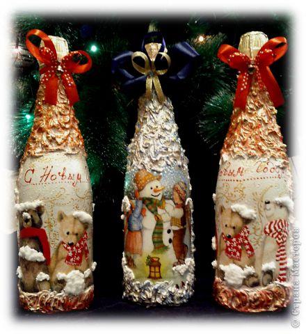 Украшение бутылки шампанского на новый год салфетки мастер класс