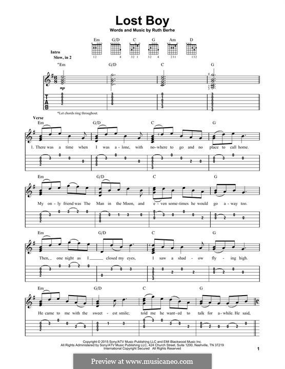 Lost Boy With Images Easy Piano Sheet Music Piano Sheet Music