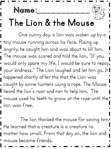 Worksheet The Lion And The Mouse Worksheets 1000 images about fables on pinterest ants activities and tortoise the lion mouse reading passage with several comprehension part of 70 page