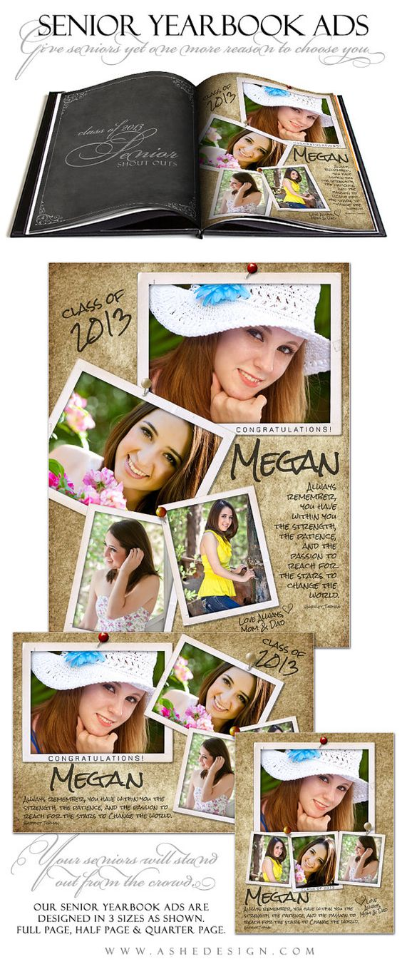 senior yearbook ad sets for photographers by ashedesign on