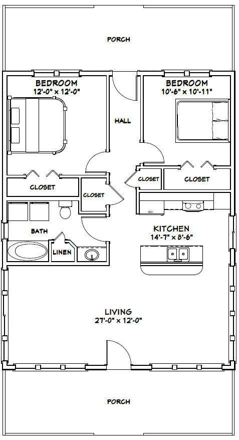 1,008 sq ft 3 Bedroom 2 Bath 28x36 House PDF Floor Plan Model 1D