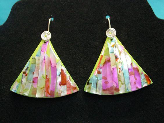 Nacre Inlay earrings by Dixie Ann Scott from a technique by artist Mirka Prazak of the Czech Republic.