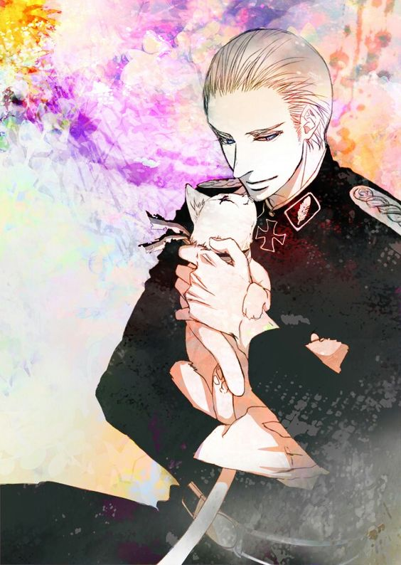 Hetalia - Germany with Prussia cat