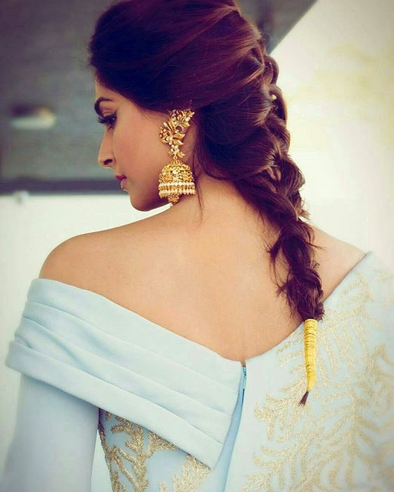 Long Jhumkas design with French Braid
