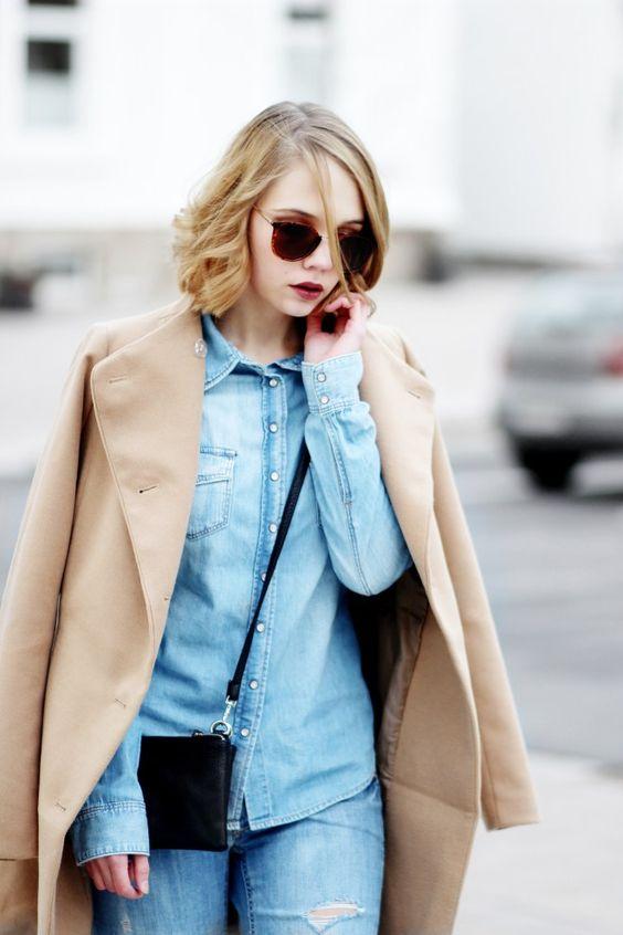 Denim on Denim Outfit, Camel Coat, Jeans, Denim Outfit, Streetstyle, bezauberndenana.de