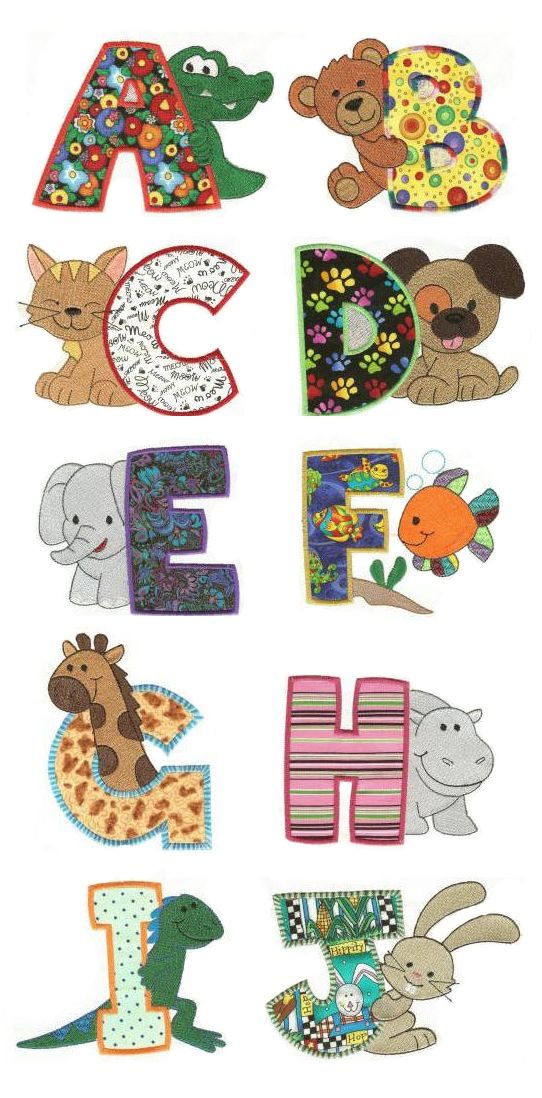Cute Critters Applique Alphabet design set available for instant download at designsbyjuju.com