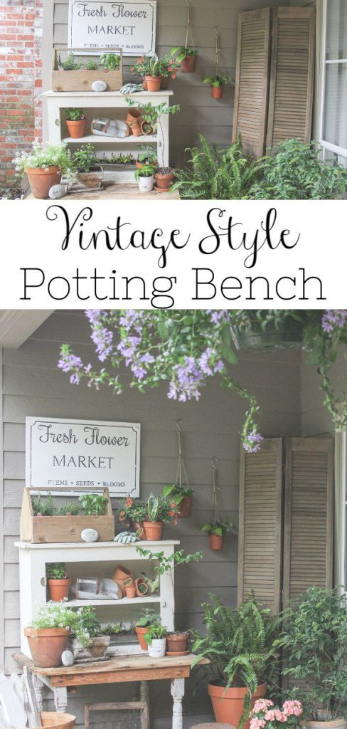 Vintage Style Potting Bench Garden Primitive Homes Outdoor Decor