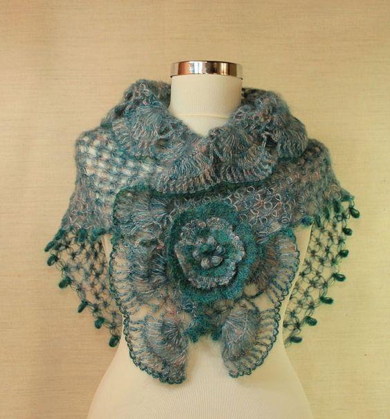 Seasparkle of Marmara / Crochet Teal Wedding Shawl Wrap Neck Warmer