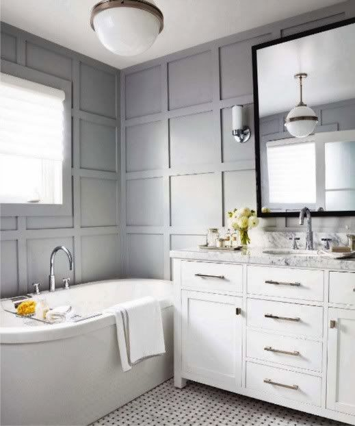 grid panelled wall: White Tile, Grey Wall, Beautiful Bathroom, Bathroom Idea, White Bathroom, Paneled Wall, Grey Bathroom, Gray Bathroom