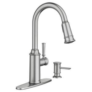Moen Glenshire Single Handle Pull Down Sprayer Kitchen Faucet With Reflex And Power Clean In