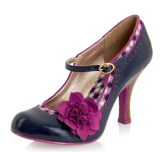 Ruby Shoo Poppy Navy Blue Mary Jane High Heel Flower Shoes | Ruby ...