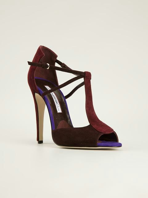 Bordeaux Suede Sandals feat. a T-bar Strap by Brian Atwood at Farfetch.com