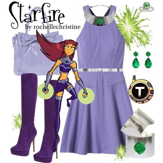 """""""Starfire Outfit with Dress"""" by rochellechristine on Polyvore #cosplay #teen #titans"""