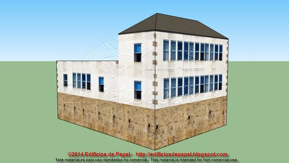 Vista trasera y lateral de la maqueta. The paper model that we present in this post shares the texture you have already seen in other models and which has allowed us to design buildings as peculiar as this we show you now.