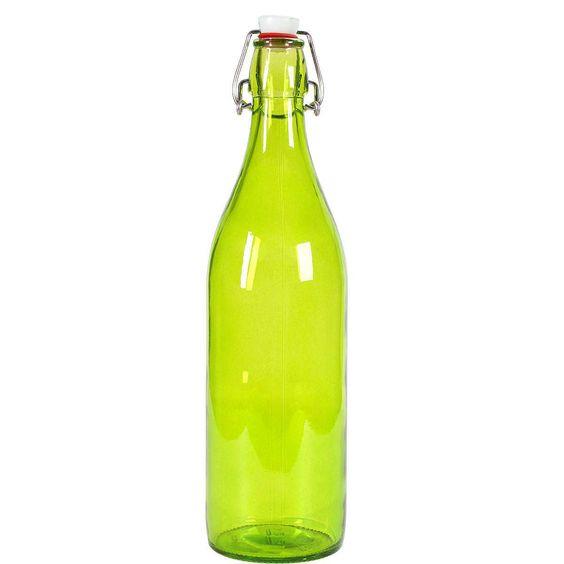 """SWING Flasche    Macht """"plop"""" - immer und immer wieder. Die Glasflasche mit Bügelverschluss ist ideal, um z. B. Säfte oder Salatdressings aufzubewahren und zu transportieren. Auch beim Verschenken von selbstgemachten Likören beweist sie praktisches Talent. In weiteren bunten Farben erhältlich.    Größe: Höhe 32,5 cm, Ø 8,5 cm, Füllmenge: 1 l  Material: Glas mit Bügelverschluss (Metall plus Kuns..."""