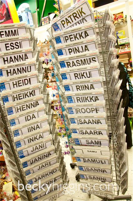 Finnish name signs -- I guess we Americans aren't the only ones who sell these things. :)