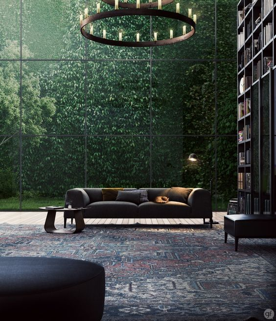 Living room with big bookcase, huge glass wall: Green Wall, Livingroom, Living Room, Dream Home, Window Wall, Reading Room, Greenwall