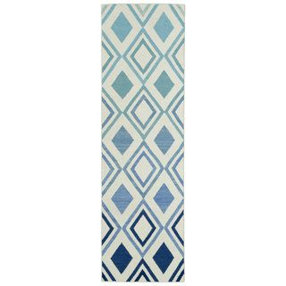 Hollywood Blue Ombre Flatweave Rug (2'6 x 8')