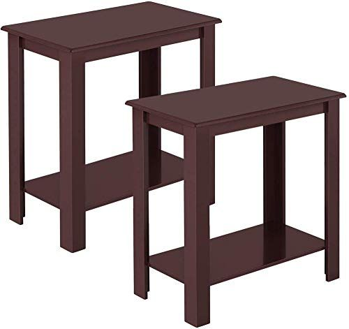 Buy Topeakmart 2pcs Wood Chair Side End Table Lower Shelf Narrow Nightstand Living Room Espresso Online Perfectfurniture In 2020 Espresso Living Room Furniture Narrow Nightstand Wood Chair