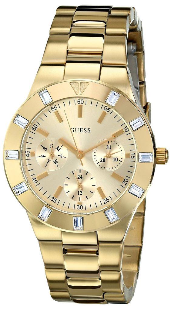 women's watches: Review for GUESS Women's U11058L1 Feminine Hi-Shine Mid-Size Gold-Tone Sport Watch