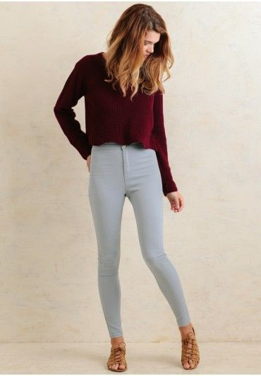 These versatile light blue pants are perfect for transitioning your cutest pieces.