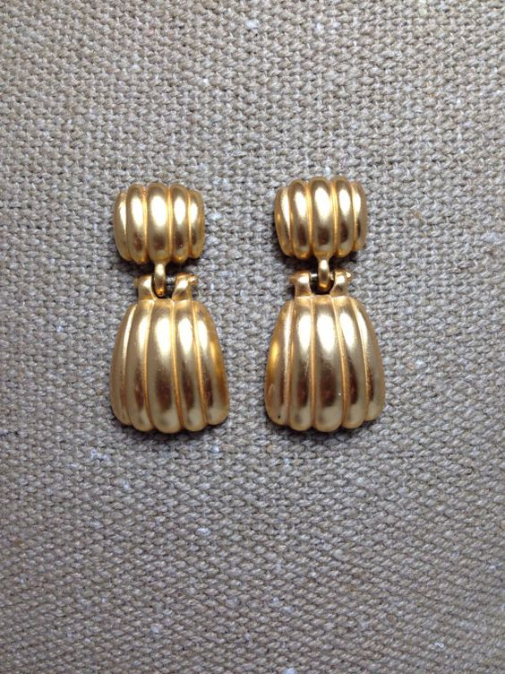 Vintage Earrings 1980's Gold Brushed Pierced Jewelry Retro Modern Up-cycle Re-purpose Matte Drop