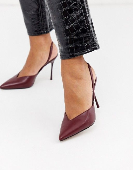Бордовые туфли на каблуке с открытой пяткой Topshop | ASOS