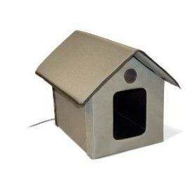 K Outdoor Heated Kitty House, K 3993 - Outdoor Cat Shelter, includes a heated pad for cooler weather.