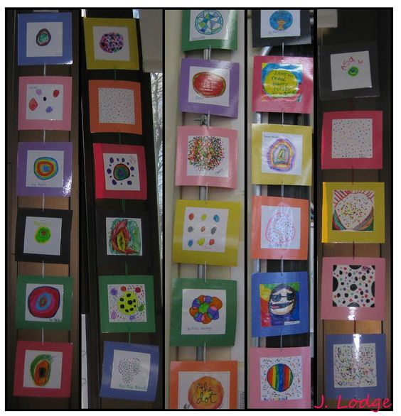 "Pinterest-inspired decorating in the library!  2nd graders made dots after reading The Dot by Peter H. Reynolds.  The picked out ""frames"" and signed their art.  Then I laminated the dots and strung them together using paperclips.  They definitely make the library more colorful!"