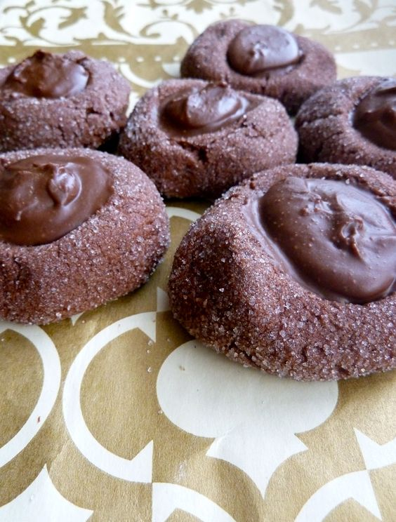 Chocolate Salted Peanut Butter Thumbprint Cookies
