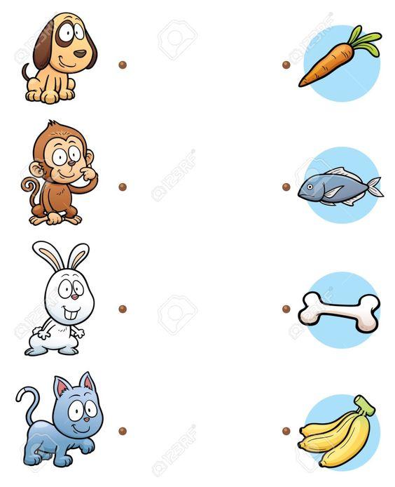 Ilustración Del Vector De Tomar La Decisión Correcta Y Conecte El Animal Puntos Con Su Comida Ilustraciones Vectoriales, Clip Art Vectorizado Libre De Derechos. Image 43675898.