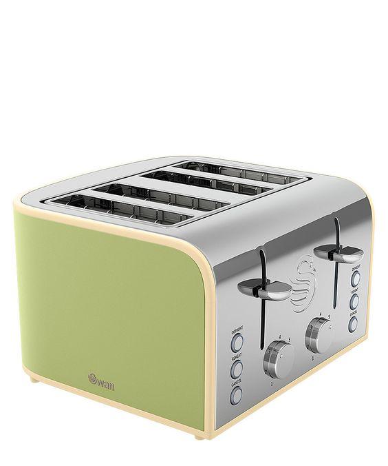 Swan Green 4 Slice Toaster Designer Homeware Sale Swan Home Appliances At Secretsales