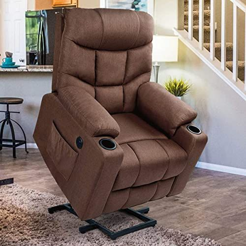 Buy Esright Power Lift Chair Electric Recliner Elderly Heated Vibration Fabric Sofa Motorized Living Room Chair Side Pocket Cup Holders Usb Charge Port Re In 2020 Electric Recliners Lift Chairs