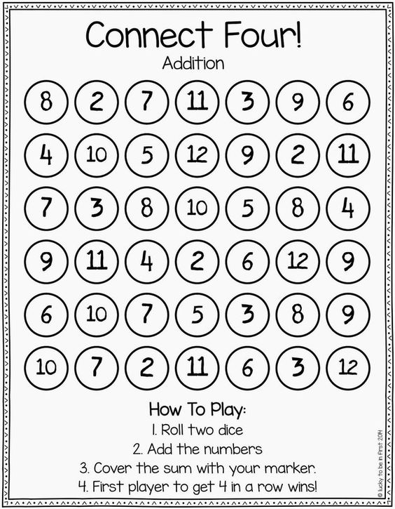 Games to Strengthen Math Skills – Math Game Worksheets