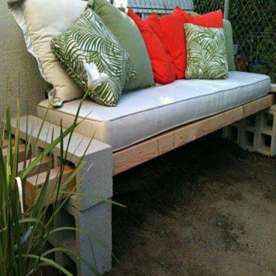 cinder block garden | Cinder block garden bench.: