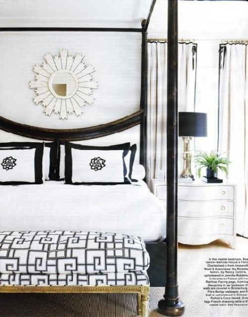 Black and white room, sunburst, white lacquered night stand, gold.