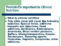Feedstuffs important in clinical nutrition | Lesson Plans