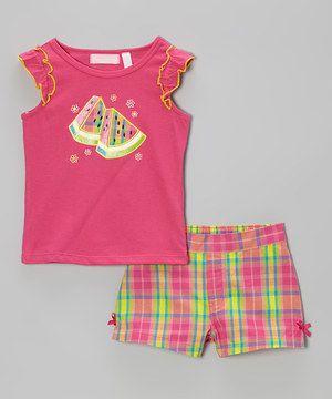 Kids Headquarters Fuchsia Watermelon Tank & Plaid Shorts - Toddler by Kids Headquarters #zulily #zulilyfinds