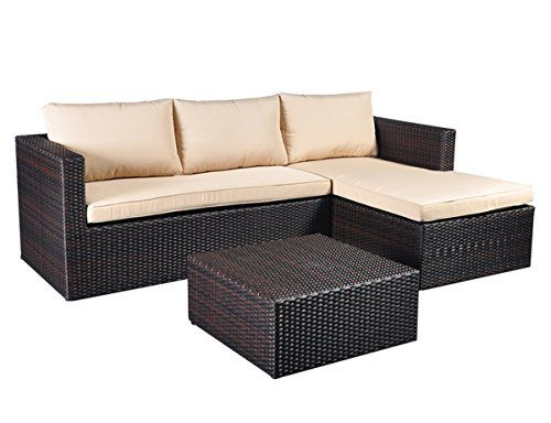 Outdoor Rattan Wicker Sofa 3pieces 5 Seaters Conversation Furniture Sets With Rustresistant Aluminum Garden Sofa Set Cheap Patio Furniture Sectional Furniture