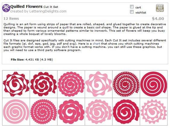 quilled flower templates svg cricut pinterest flower i love and paper. Black Bedroom Furniture Sets. Home Design Ideas