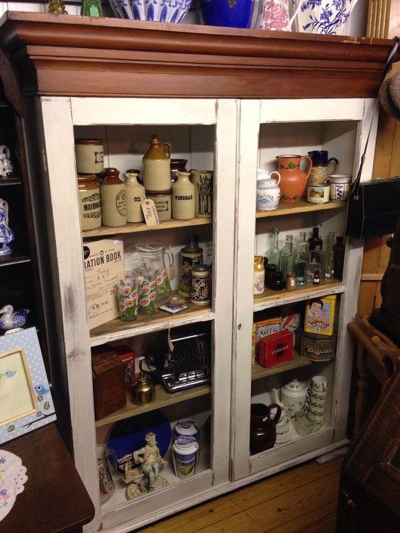Victorian Pitch Pine Painted Larder/Linen/ Book French Kitchen Cupboard Dresser