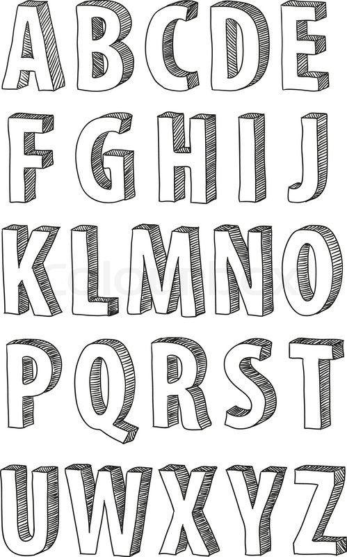 Hand Drawn D Font Vector Alphabet Vintage Style By Goldenarts