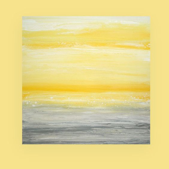 Take 20 Off Yellow And Gray Abstract Acrylic Painting On