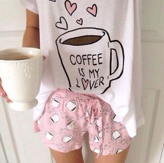 pajamas mug shorts coffee pajama pants pajama shirt pink coffee mug blouse pj pajama shorts girly tumblr outfit tumblr shorts fashion cute outfit: