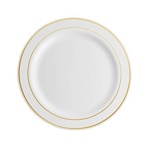 100 Piece Plastic Party Plates White Gold Rim 50 Premium Heavy Duty 10 25 Dinner Plates An Plastic Party Plates Party Plates Dinner Plates