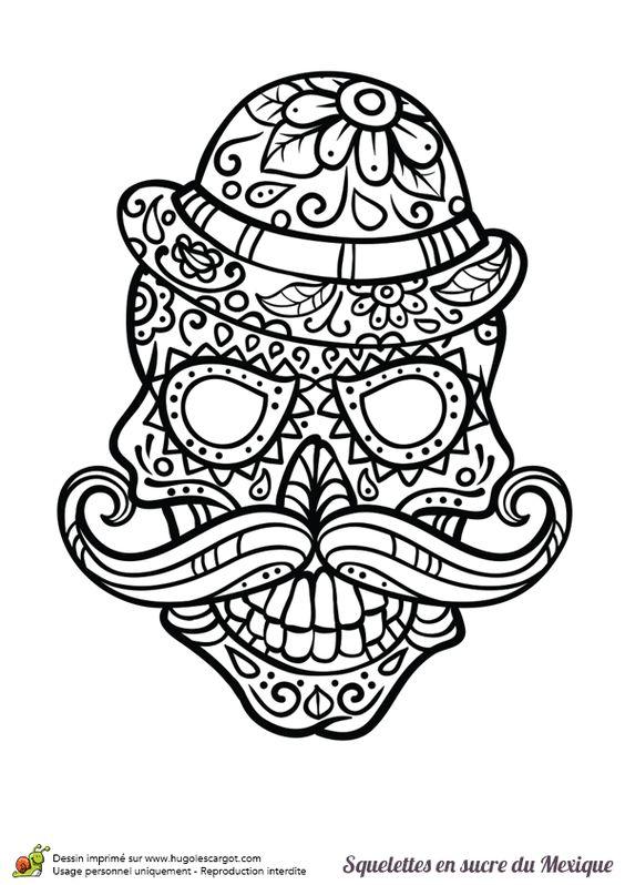 Coloriage cr ne en sucre mexicain moustache et chapeau - Hugolescargot com coloriage ...