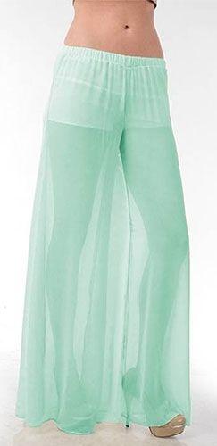 Mint Sheer See Thru Elastic Waist Vintage Flowy Wide Legged Palazzo Pants