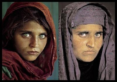 """""""Her name is Sharbat Gula and is around her 30s. She became an orphan and refugee of war at about the age of six. Soviet bombing killed her parents, and her grandmother led her and her siblings on foot, in winter, to Pakistan, where they lived in various camps. Now, she's the married mother of three girls and lives in a remote ethnic Pushtun region of Afghanistan with her family."""" what-a-wonderful-world"""